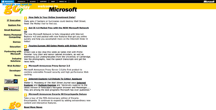 Microsoft Old Website