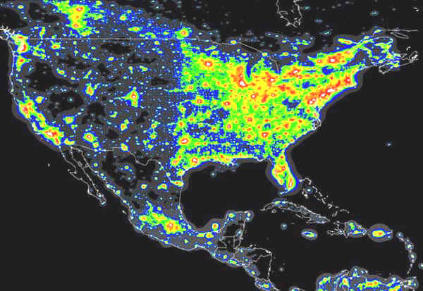 Light Pollution Map of The United States Image Credit: The Light Pollution Science and Technology Institute (ISTIL)