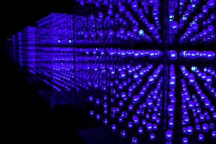 Blue LED in a cube